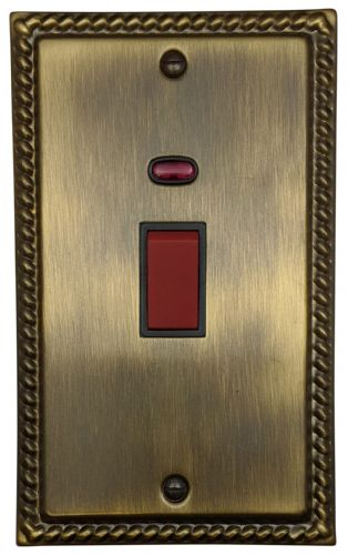 G&H MAB28B  Monarch Roped Antique Bronze 45 Amp DP Cooker Switch & Neon Vertical Plate